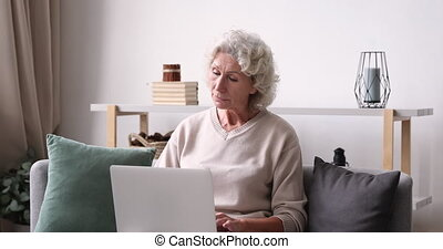 Inspired thoughtful older lady typing on laptop at home. Elderly 70 years old adult woman using computer thinking of new ideas sit on sofa. Senior female user writing internet blog social media post
