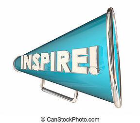 inspireren, bullhorn, megafoon, motivational, woord, 3d, illustratie