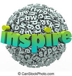 inspireren, woord, 3d, brief, bol, bal, motivational, opleiding