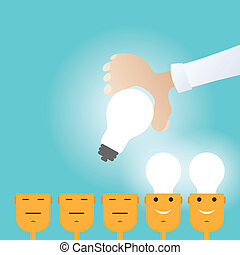 Vector illustration of hand placing a light bulb to people's heads.