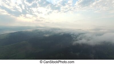 Inspiring beauty of nature. Mountains and sky in aerial view