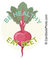 Inspiring hand drawn poster about the benefits of beet.