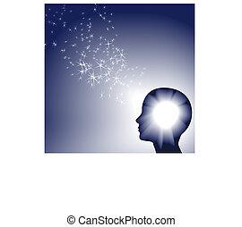 inspration, 人, 才知に長けている, ライト, きらめき, 顔, 白