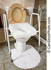 inställbar, höjd, toalett, säte