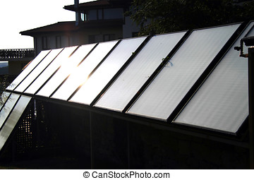 inställbar, solar panel, installation, på, lyx hemma
