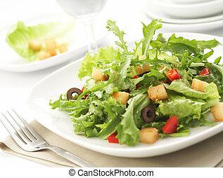 inställning, grön sallad, restaurang