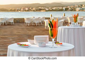 inställning, strand, bord, restaurang