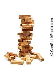 instabilidade, edifício bloqueia, em, risco, conceito