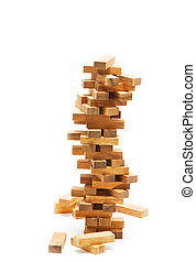 Instability building blocks at risk concept, on white background