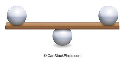 instable, バランス, 不安定, ボール, 均衡