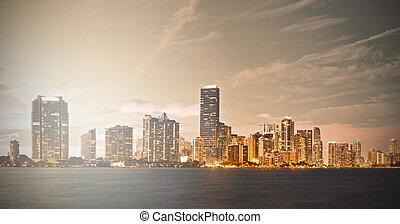 instagram, マイアミ, 処理, フロリダ, ダウンタウンに, 日没, フィルターされた