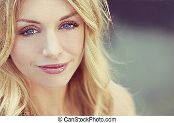 instagram, estilo, bonito, loura, mulher, com, olhos azuis