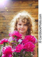 instagram, haar, hand., krullend, photo., baby, bloemen,...