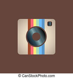 instagram icon - Hipster photo or camera icon on a white...