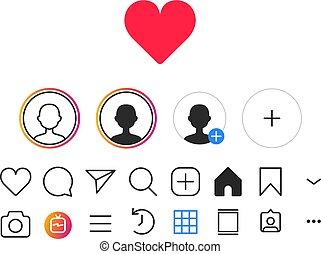instagram, iconerne, medier, sæt, sociale