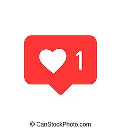 instagram, média, társadalmi, notifications, vektor, vector., figyelmeztetés, icon., ikon, szeret