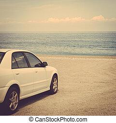 instagram, voiture, sable, retro, vendange, plage, voyage, route