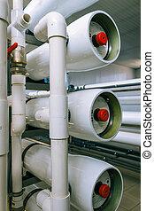 instalação, de, industrial, membrana, dispositivos
