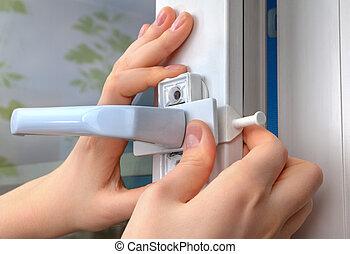 instalação, de, janela, restrictor, para, janelas, usando,...
