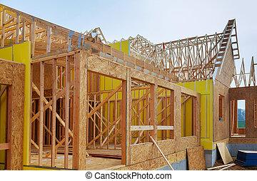 instalação, de, madeira, vigas, em, construção, de, quadro, casa, foto, de, um, repouso novo, construção