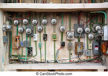 instalação, elétrico, telegrafando, medidor, elétrico, sujo