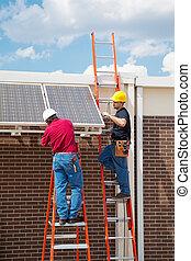 instalação, energia, solar