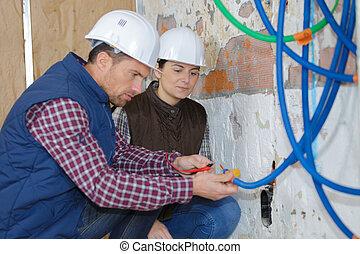 instalação, septic, local, novo, construção, pretas, pe,...