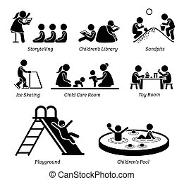 instalações, recreacional, activities., crianças