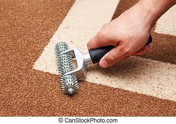 instalación, alfombra
