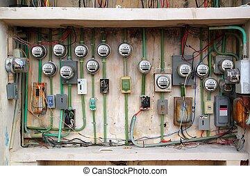 instalación, cableado, metro eléctrico, desordenado, ...