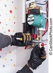 instalación, calefacción, caldera