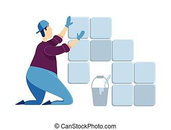 instalación, caricatura, ilustración, casa casa, character., color, cerámico, tiler, tipo, mortar., handyworker., tiles., renovation., aislado, vector, reparaciones, profesional, plano, lechada, hombre, faceless