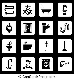 instalación de cañerías, conjunto, cuadrados, vector, iconos