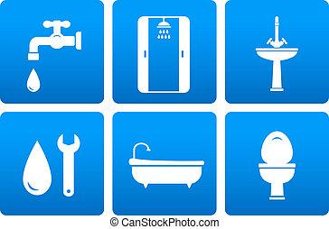 instalación de cañerías, conjunto, iconos