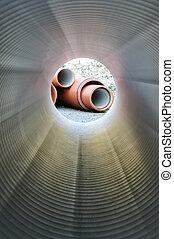 instalación de cañerías, dentro, tubo