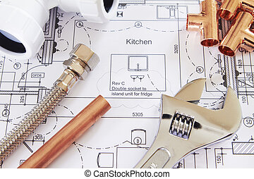 instalación de cañerías, herramientas, arreglado, en, casa, planes