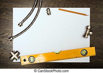 instalación de cañerías, herramientas, en, un, hoja blanca, de, papel