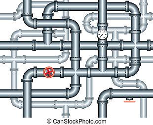 instalación de cañerías, laberinto, tubos, seamless