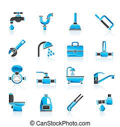 instalación de cañerías, objetos, herramientas, iconos