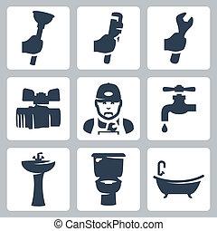 instalación de cañerías, vector, conjunto, iconos