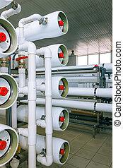 instalación, de, industrial, membrana, dispositivos