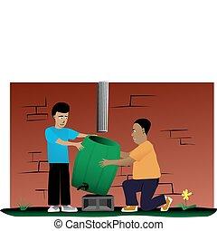 instalación, padre, lluvia, barril, proyecto, hijo