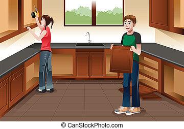 instalación, pareja, gabinetes, joven, cocina