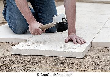 instalación, pavimentar, losas