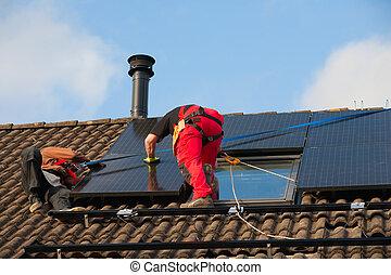 instalación,  solar,  panel