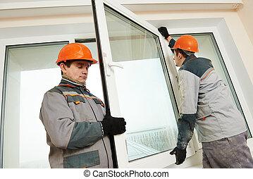 instalación, trabajadores, ventana, dos