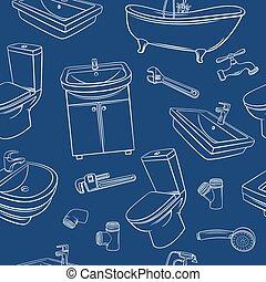 instalacja wodociągowa, blu, seamless, próbka