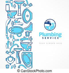 instalacja wodociągowa, chorągiew, z, logo, dla, projektować, w, błękitny