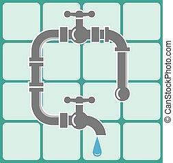 instalacja wodociągowa, ikona, dachówki, rura