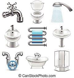 instalacja wodociągowa, wektor, komplet, ikony